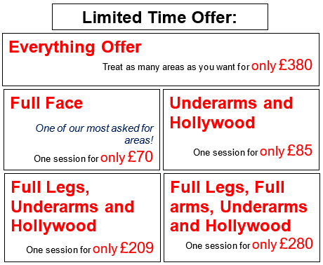 laser hair removal price list and special offers